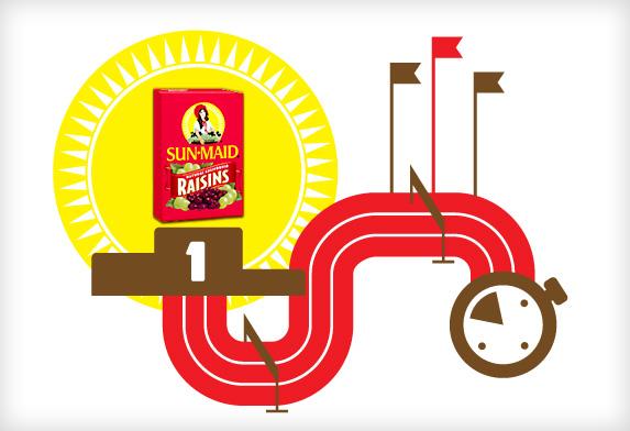 Race track graphic demonstrating the benefits of Sun-Maid raisins in running