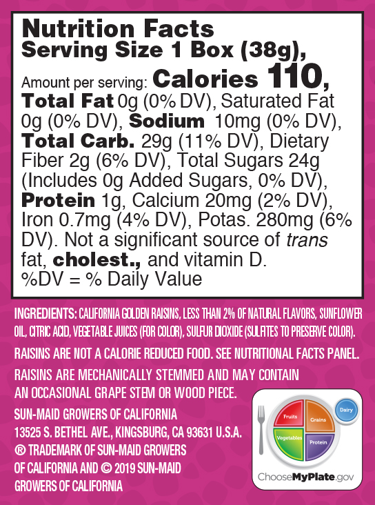 Mixed Berry Sour Raisin Snacks nutrition facts